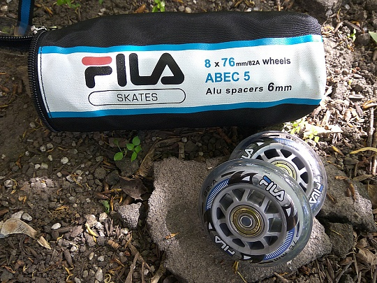 Fila Wheels 76mm/82A + ABEC5 + Alu Spacer 6mm